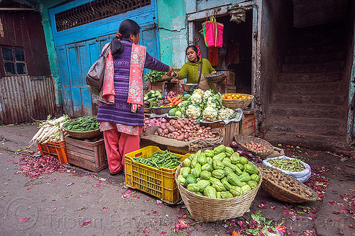 small vegetable store - farmers market (india), darjeeling, farmers market, india, produce, selling, shop, stall, store, street market, street seller, vegetables, women