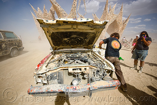 smashing a car - burning man 2009, art car, burning man, car engine, car hood, dpw, hammer, smashing, wreck, wrecking