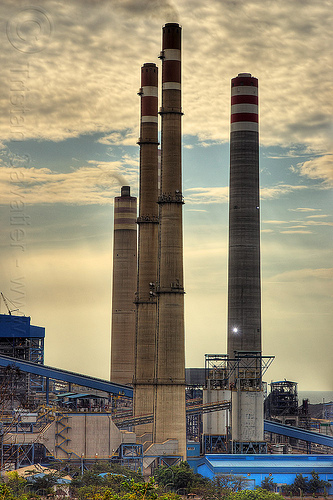smoke stacks from coal-burning power plant, coal fired, electricity, energy, environment, factory, indonesia, paiton complex, pollution, power generation, power station, smoke stacks