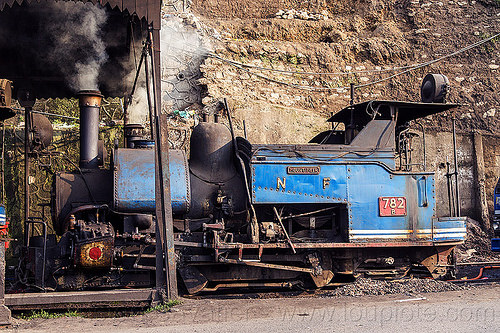 smoking steam locomotive at the darjeeling train yard (india), 782 mountaineer, darjeeling himalayan railway, darjeeling toy train, india, narrow gauge, railroad, smoke, smoking, steam engine, steam locomotive, steam train engine, train depot, train yard