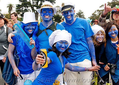 smurfs - bay to breakers (san francisco), blue, body art, body paint, body painting, face painting, facepaint, festival, footrace, people, schtroumpf, smurf, street party, woman