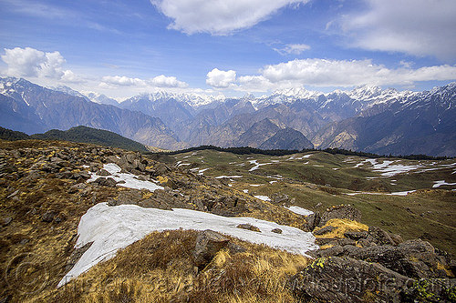 snow patches on pastures and himalaya mountains near joshimath (india), mountains, pastures, rocks, snow patches, stones