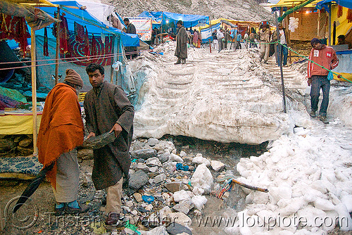 snow stairs leading to the cave - amarnath yatra (pilgrimage) - kashmir, amarnath yatra, hiking, hindu pilgrimage, india, kashmir, pilgrims, snow, stairs, tents, trail, trekking