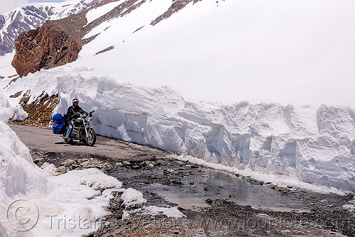 snow walls and nullah near baralacha pass - manali to leh road (india), baralacha pass, baralachala, india, ladakh, motorcycle touring, mountain pass, mountains, nullah, puddle, river, road, royal enfield bullet, snow walls, stream