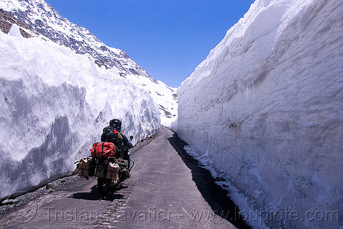 snow walls - himalayas - manali to leh road (india), baralacha pass, baralachala, ben, india, ladakh, motorcycle touring, mountain pass, mountains, rider, riding, road, royal enfield bullet, snow walls