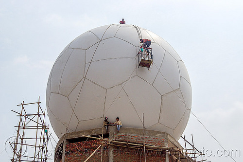 soccer ball radome - doppler radar (india), ball, building, cherrapunjee, cherrapunji, construction, dome, east khasi hills, hanging, infrastructure, meghalaya, men, radar, radome, ropes, scaffolding, sohra, sphere, truncated icosahedron, workers, working