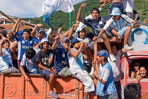 socker supporters celebrate team victory, argentina, celebrating, lorry, men, noroeste argentino, salta, socker match, supporters, truck