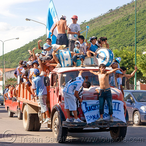 socker supporters on truck celebrate team victory, argentina, celebrating, lorry, men, noroeste argentino, salta, socker match, supporters, truck