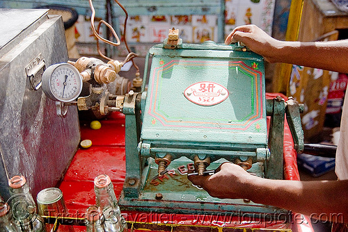 soda machine - pushkar (india), crank, pressure gauge, soda bottles, soda machine, street market, street vendor
