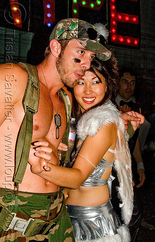 soldier with angel - ghostship halloween party on treasure island (san francisco), angel, costume, ghostship 2009, halloween, rave party, soldier, space cowboys, woman