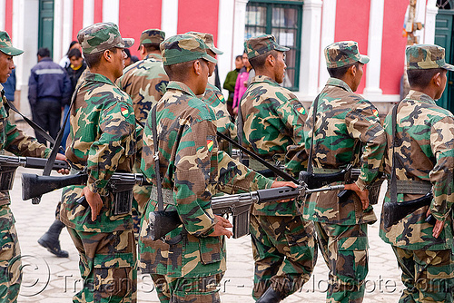 soldiers - uyuni (bolivia), armed, army, assault weapons, automatic weapons, bolivia, exercise, fatigues, guns, infantery, men, military, rifles, soldiers, training, uniform, uyuni