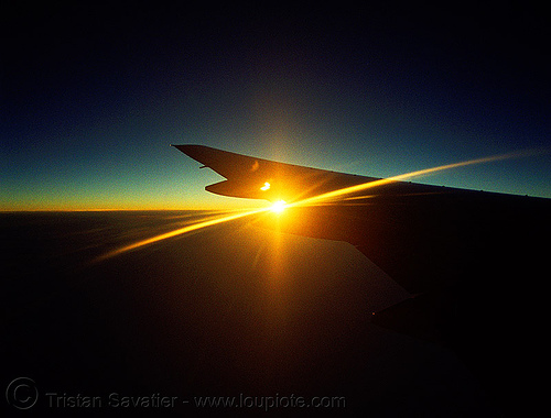 sometimes I just want to fly far away..., aircraft, backlight, horizon, lens flare, plane, sun, sunset, wing