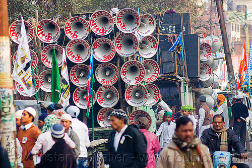 sound system at parade - eid-milad-un-nabi muslim festival (india), bullhorns, crowd, eid e milad un nabi, eid e milād un nabī, india, islam, loudspeakers, mawlid, men, muhammad's birthday, muslim festival, muslim parade, muslims, nabi day, prophet's birthday, sound, speakers, عید میلاد النبی, ईद मिलाद नबी