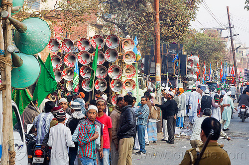 sound trucks - eid-milad-un-nabi muslim festival (india), bullhorns, crowd, eid-e-milad-un-nabi, eid-e-milād-un-nabī, eid-milad-un-nabi, islam, loud speakers, mawlid, men, milad un-nabi, milad-an-nabi, milād an-nabī, milād un-nabī, mohammed's birthday, muhammad's birthday, muslim festival, muslim parade, muslims, nabi day, prophet's birthday, religion, sound, street, عید میلاد النبی, ईद मिलाद नबी