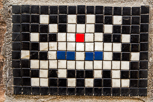 space invaders mosaic with red tilaka (india), ceramic tiles, invader, mosaic, space invaders, street art, tilak, tilaka, urban art, varanasi