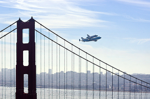space shuttle endeavour over golden gate bridge, 747, aircraft, boeing 747, bridge pillar, bridge tower, fly-by, flying, flyover, jumbo jet, nasa, ov105, piggyback, plane, sca, sf endeavour 2012, shuttle carrier aircraft, suspension bridge