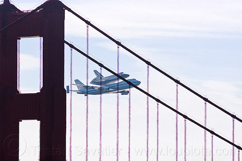 space shuttle endeavour over golden gate bridge, boeing 747, bridge pillar, bridge tower, fly-by, flying, flyover, golden gate bridge, jumbo jet, nasa, ov105, piggyback, plane, sca, sf endeavour 2012, shuttle carrier aircraft, space shuttle endeavour, suspension bridge
