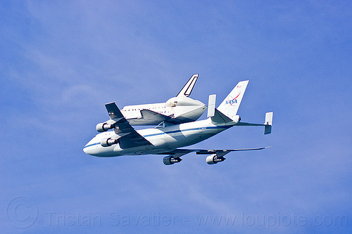 space shuttle endeavour piggyback atop boeing 747 shuttle carrier, boeing 747, fly-by, flying, flyover, jumbo jet, nasa, ov105, piggyback, plane, sca, sf endeavour 2012, shuttle carrier aircraft, space shuttle endeavour