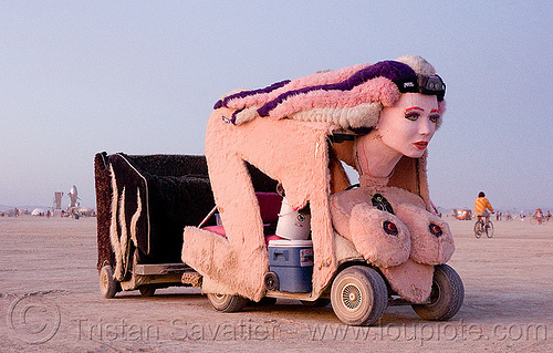 sphinx art car - burning man 2009, art car, burning man, camp make good choices, cindy, mutant vehicles, plush, sphinx