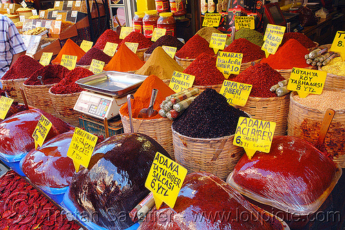 spice bazaar, istanbul, powder, price, signs, spice market, spices
