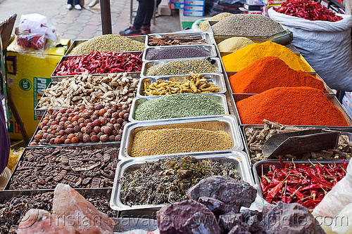 spice shop in paharganj (delhi), chili pepper, chili powder, colorful, curry powder, delhi, india, nehru bazar, nuts, paharganj, rock salt, spice market, spice shop, spices, turmeric powder