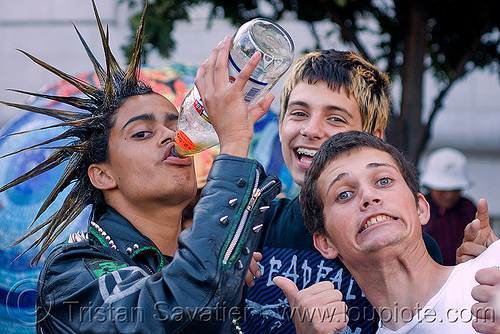 spiky hair - punk guy, drinking, festival, guys, kids, love fest, lovevolution, men, people, punks, skunk, spikes, viktor