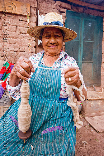 spindle - spinning wool, apron, chile, indigenous, old woman, san pedro de atacama, spindle, spinning, straw hat, wool