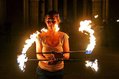 spinning double fire staff, double staff, fire dancer, fire dancing, fire performer, fire spinning, fire staffs, fire staves, flames, night, savanna, spinning fire, woman