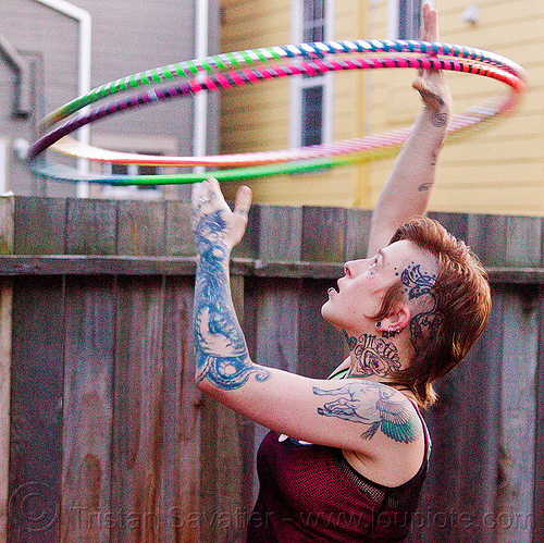 spinning double hoop, hula foops, hula hoop, leah, tattooed, tattoos, woman