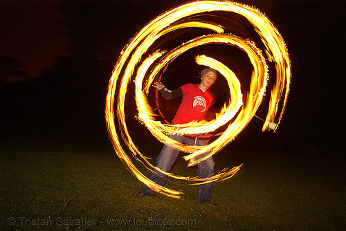 spinning fire hula hoop (san francisco), fire dancer, fire dancing, fire hula hoop, fire performer, fire spinning, flames, long exposure, night, spinning fire