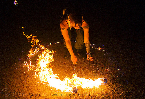 spinning fire poi (san francisco) - fire dancer - leah, fire dancer, fire dancing, fire performer, fire poi, fire spinning, flames, leah, night, spinning fire, tattooed, tattoos, woman