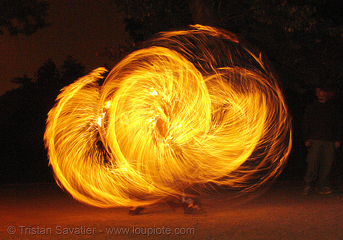 spinning fire ropes (san francisco), fire dancer, fire dancing, fire performer, fire ropes, fire spinning, night, spinning fire