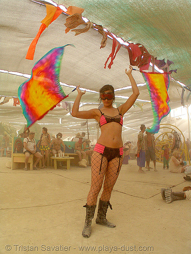spinning flags - burning man 2007, burning man, center camp, spinning flags, woman