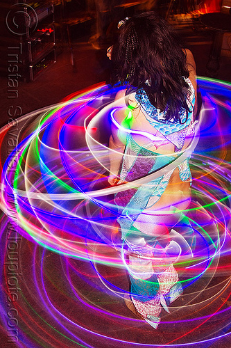 spinning LED hoops, cell space, glowing, grace hoops, hooper, hula hoop, led hula hoops, led lights, led-light, light hoop, long exposure, night, people, underground party, warehouse party, woman