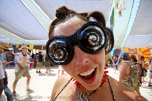 spiral goggles - burning man 2007, burning man, center camp, spiral glasses, spiral goggles, spirals, woman