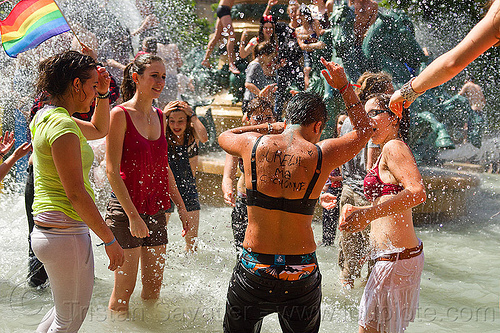 splashing water in fountain, basin, crowd, fontaine de l'observatoire, gay pride, luxembourg garden, mayhem, melee, men, mêlée, paris, people, playing, pool, splash, wading, water fight, wet, women