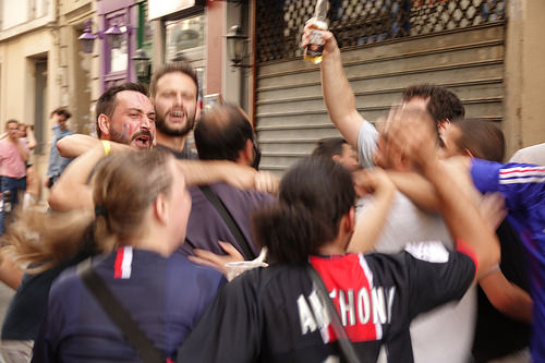 RNT01374, allez les bleus, bleu blanc rouge, celebration, coupe du monde de football 2018, crowd, dancing, fifa, french flags, on a gagné, paris, soccer, street party, world cup 2018