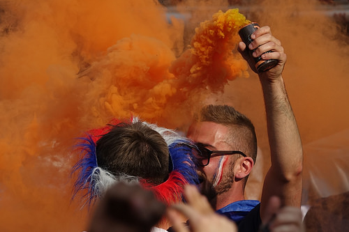 (2), allez les bleus, bleu blanc rouge, celebration, coupe du monde de football 2018, crowd, dancing, fifa, french flags, on a gagné, orange smoke, paris, smoke bombs, soccer, street party, world cup 2018