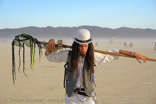 spooky guy - burning-man 2006, art, bowler hat, burning man, four horsemen, horse stick, white hat