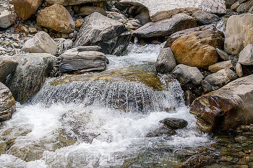 the springs of the yamuna river near yamunotri (india), flowing, rocks, springs, stones, water, yamuna river, yamunotri