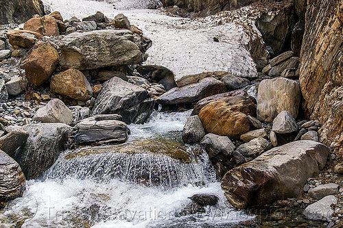 the springs of the yamuna river near yamunotri (india), flowing, rocks, snow, springs, stones, water, yamuna river, yamunotri