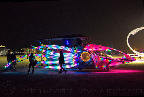 squid art car - burning man 2012, burning man, glowing, night, squid art car, squidcar