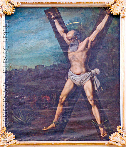 st andrew's cross painting - the martyrdom of st andrew, bald, bolivia, crucified, crux decussata, frame, framed, la paz, man, martyr, martyrdom, martyred, painting, sacred art, saint andrew's cross, saltire cross, st andrew, st. andrew's cross, torture, tortured