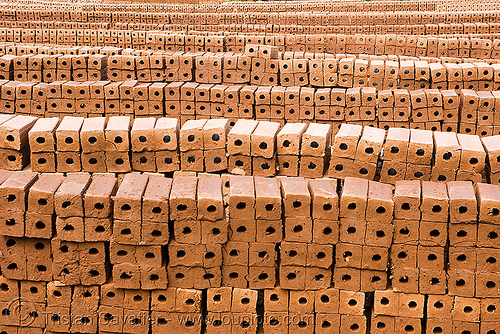 stacks of bricks in brick manufacture (laos), brick kiln, bricks, crafts, handwork, laos, luang prabang, stacked