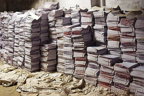 stacks of leaflets in print shop storage, lucknow, piles, print shop, printed paper, stacked, stacks