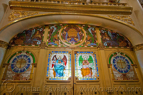 stained glass doors - cathedral - potosi (bolivia), angels, backlight, catedral de potosí, cathedral, church, doors, emiliano, golden, interior, religion, sacred art, stained glass