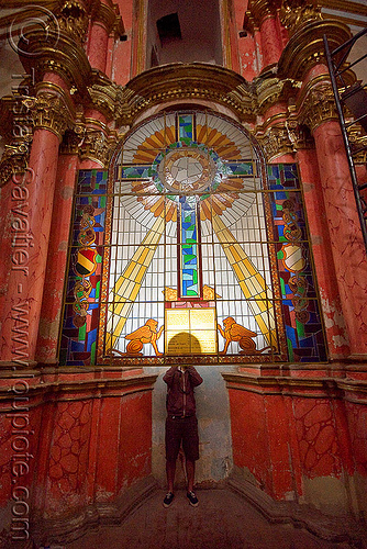 stained glass in the cathedral - potosi (bolivia), backlight, bolivia, catedral de potosí, cathedral, church, columns, cross, emiliano, inside, interior, sacred art, stained glass, sun rays