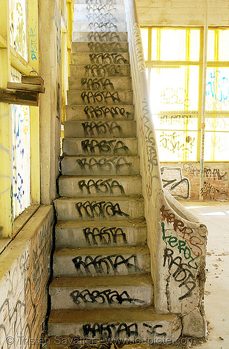 stair - tags - rasta - abandoned factory (san francisco), concrete, derelict, graffiti, rasta, stairs, stairway, tie's warehouse, trespassing, vandalism