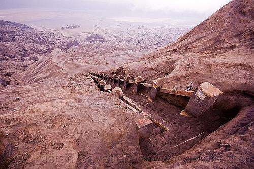stairs to bromo crater, bromo volcano, caldera, desert, gunung bromo, java, lautan pasir, mountains, sea of sand, steps, tengger, tengger caldera, volcanic ash