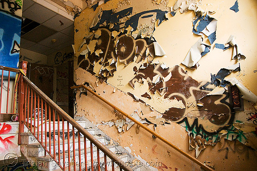 stairway - abandoned hospital (presidio, san francisco) - PHSH, abandoned building, decay, graffiti, paint, peeling, peeling paint, presidio hospital, presidio landmark apartments, staiways, trespassing, urban exploration